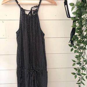 Black Floral Romper w High-Neck & Tie Waist - sz s